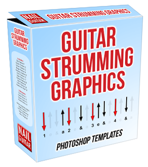 Guitar Strumming Graphics box - Strum Diagrams Software Templates